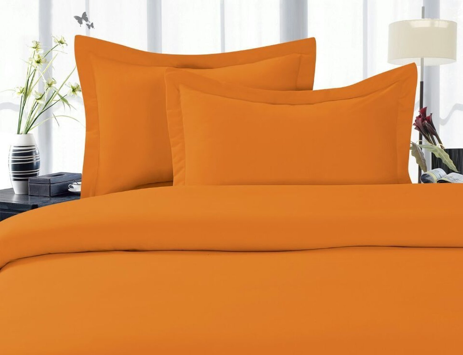 4 Piece Bed Sheet Set, Deep Pocket, HypoAllergenic   Full Elite Orange