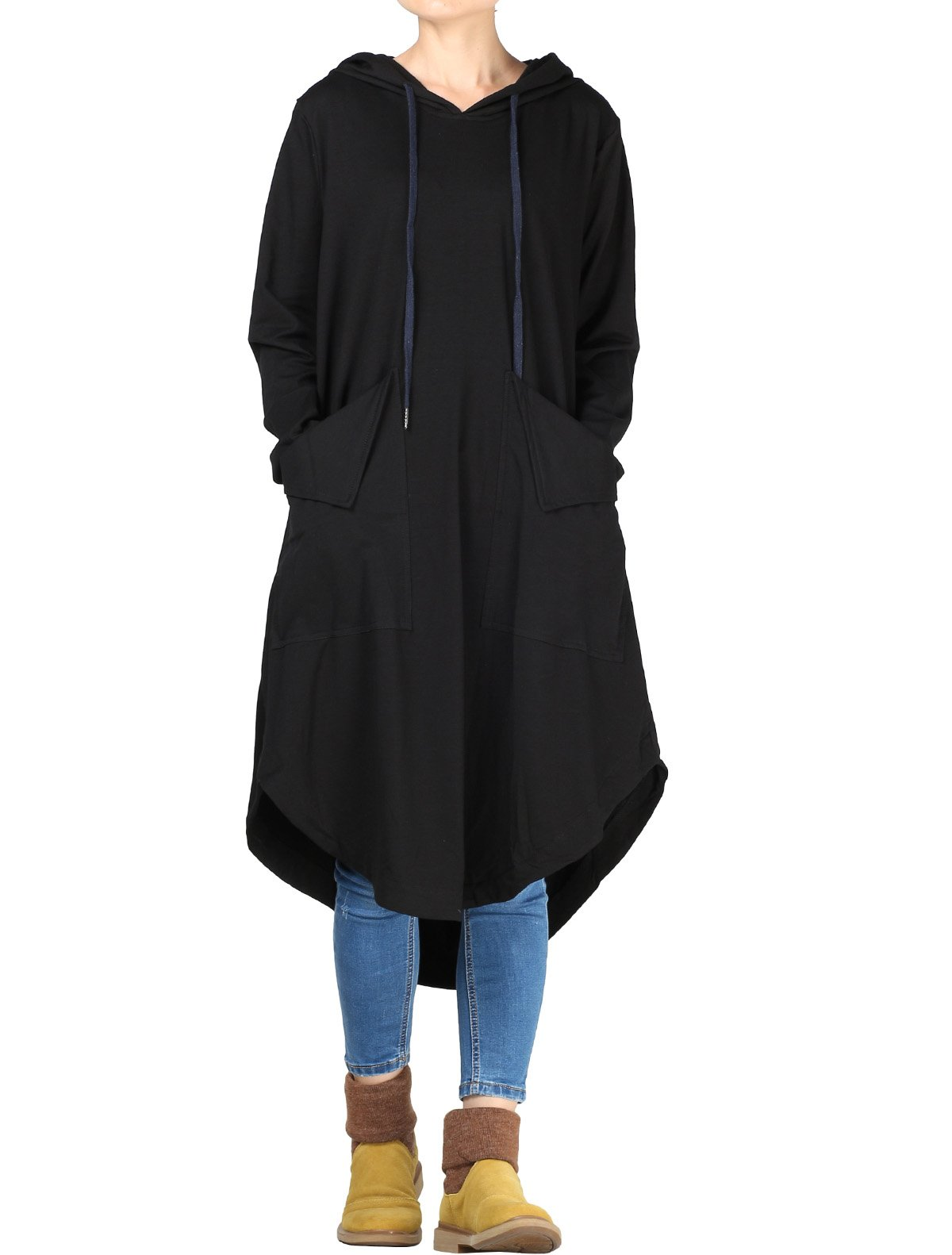 Mordenmiss Women's Drawstring Hood Sweatshirt Dress with Big Pockets L Black