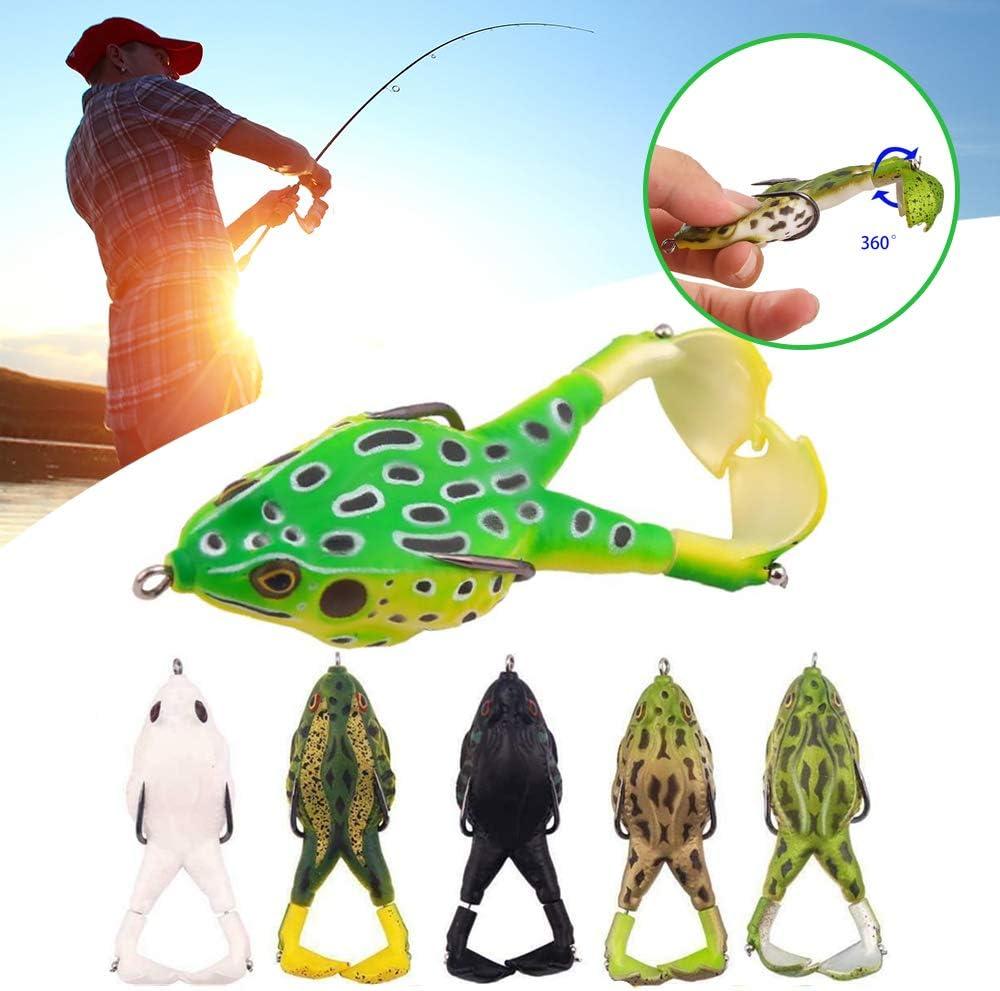 360 /° Double Barb Frog Palmes Rotatives App/ât Artificiel Bionique,Double H/élices Grenouilles App/ât Souple,Leurres De P/êche en Silicone Souple /à Double Crochet,Outil De P/êche Professionnel