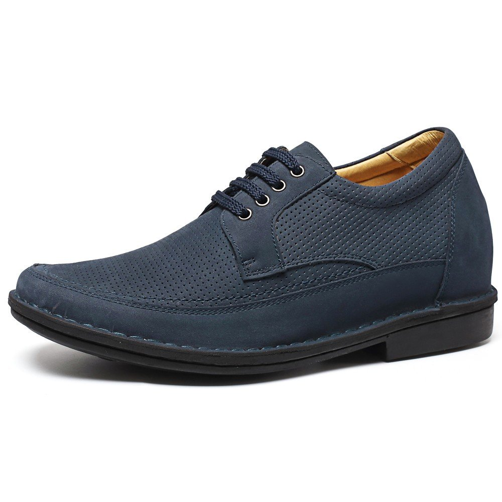 CHAMARIPA Mauml;nner 7 cm/2,76 Zoll Taller Elevator Schuhe Blau Wildleder Lace Ups Heben Schuhe Breathable Casual Sandals -H71X58K032Dhellip;  45|blue