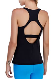 9978c67542283e Matymats Yoga Tank Tops for Women Built in Bra Workout Sleeveless Shirts  Open Back