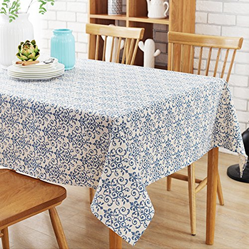 Bringsine Washable Cotton Linen Fabric Vintage Navy Damask Pattern Decorative Macrame Lace Rectangle Tablecloth Dinner Picnic Table Cloth Home Decorative Oblong Table Cover Assorted Size