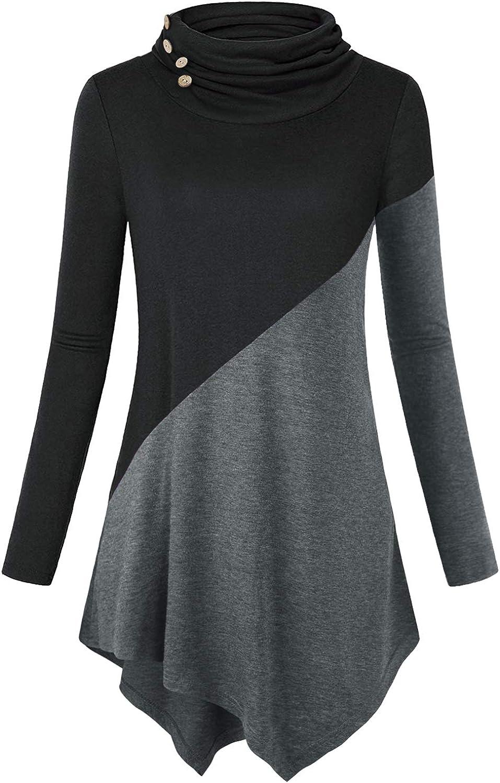 TOPUSH Women'sLong Sleeve Color Block Casual Pullover Hoodie Sweatshirt with Pocket