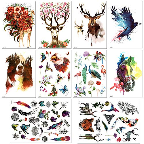 10 Sheets Arm Temporary Tattoo Stickers for Men and Women,Sika Deer Arm Chest Shoulder Tattoos, Owl Guys Teens Waterproof Fake ()