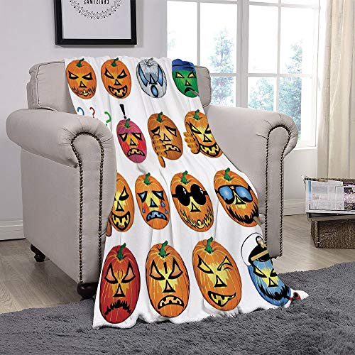 YOLIYANA Light Weight Fleece Throw Blanket/Halloween Decorations,Carved Pumpkin with Emoji Faces Halloween Humor Hipster Monsters Art,Orange/for Couch Bed Sofa for Adults Teen Girls Boys ()