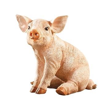 Amazing Baby Pig Garden Statue, Beige