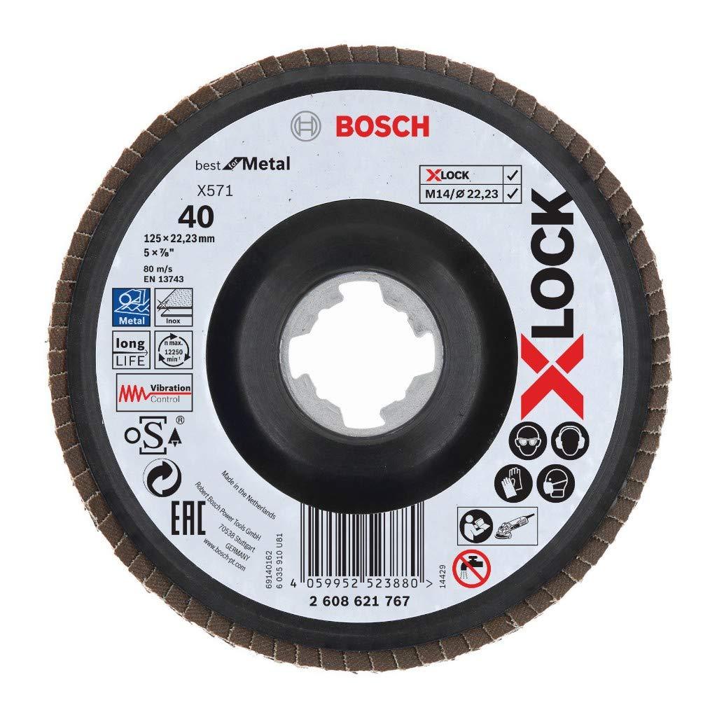Bosch X-LOCK F/ächerscheibe X571 Best for Metal Durchmesser 125 mm K/örnung 40 10 Stk