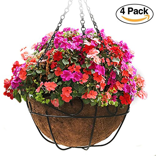 4 Pack Metal Hanging Planter Basket With Coco Coir Liner 12 Inch Round Wire Plant Holder With Chain Porch Decor Flower Pots Hanger Garden Decoration Indoor Outdoor Watering Hanging (Plastic Flower Basket)