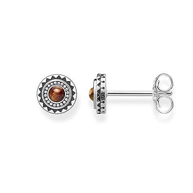 Thomas Sabo Women 925 Sterling Silver silver Round Tiger's Eye Stud Earrings - H1961-826-2 nkkb8VG
