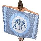 ISLAND STYLE CLOTHING Sarong Mandala Elephant Tribal Soft Beach Coverups for Women Bikini Wrap + Coconut Clip (Elephant Blue/Blue)