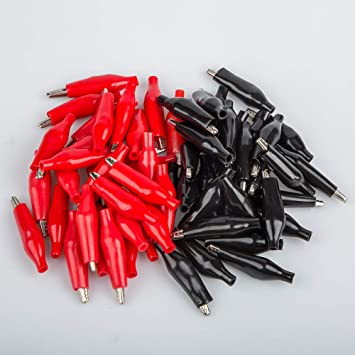 vernickelt 35 mm silberfarben 60 St/ück YuCool Krokodilklemmen elektrische Testklemmen mit rot-schwarzem Schutzabdeckung f/ür Labortests