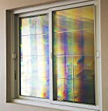 Decorative Window Film Holographic Prismatic Etched Glass Effect - Fill Your House with Rainbow Light 23 X 36 Panel – Spectra Star Pattern