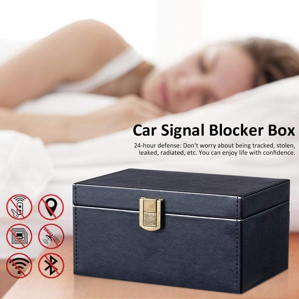 24-Hour Defense Anti Theft Faraday Box Keyless Cage Entry RFID Fob Key Security Box for Car Keys Fob Phones Cards 18 x 12 x 9.5cm Calmson Car Key Signal Blocker