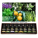 Top 8 100% Pure Essential Oil Set 10ml Therapeutic Grade (PEPPERMINT, LAVENDER, FRANKINCENSE, EUCALYPTUS, TEA TREE, LEMONGRASS, ROSEMARY, ORANGE)