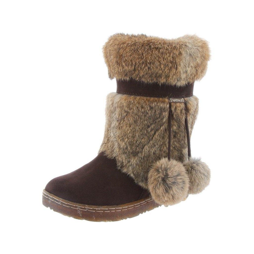 Bearpaw Boots Womens Tama Fur Pom Poms Suede 9'' 7 Chocolate 1292W