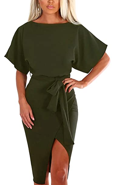 b917bf9348 ECOWISH Womens Short Sleeves Tie Waist Split Midi Dress Bodycon Bottom Slit  Casual Attire Army Green