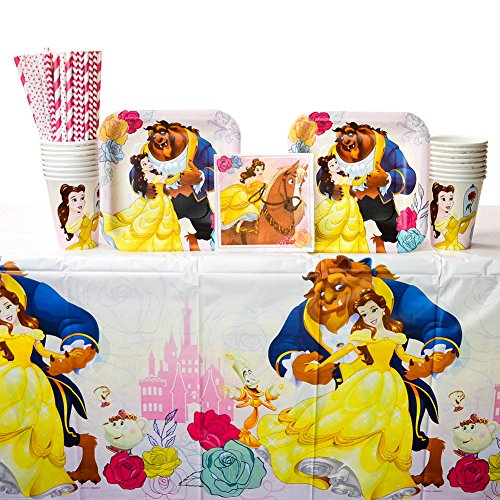 Beauty and The Beast Tableware Kit for 16 Guests Including Paper Cups, Paper Dessert Plates, Paper Beverage Napkins, Paper Straws, and Plastic Table Cover (Bundle for 16) ()