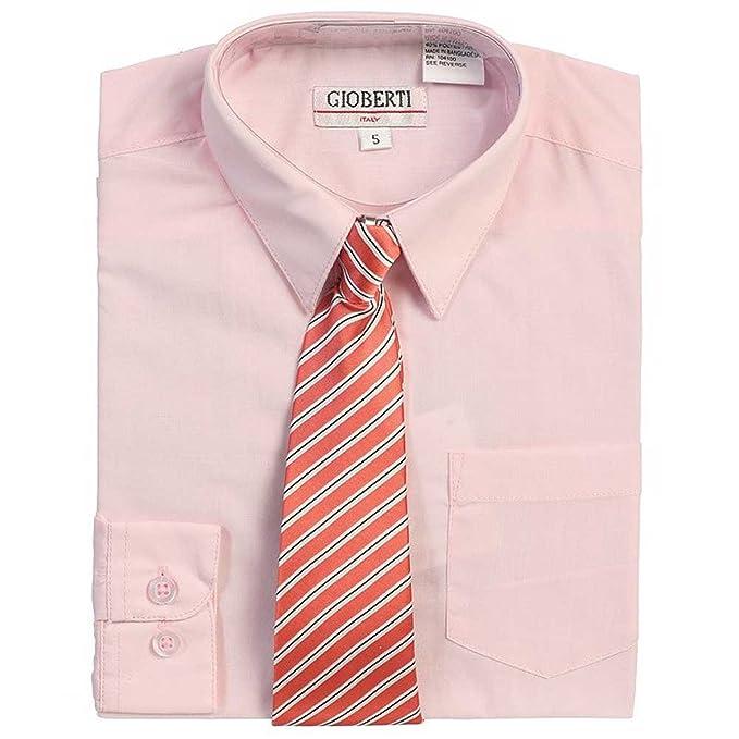 Rosa Botón Up Camisa Rosa Oscuro Juego de niños de corbata a rayas ...