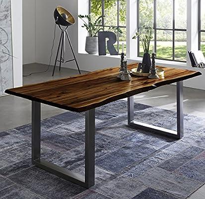 SAM Esszimmertisch 200x100 cm Quintus, echte Baumkante, nussbaumfarben,  massiver Esstisch aus Akazienholz, Metallbeine Silber, Baumkantentisch
