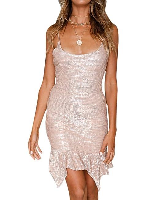 Vestidos Lentejuelas Coctel Bodycon Mini Vestido de Fiesta para Mujer Como la Imagen S