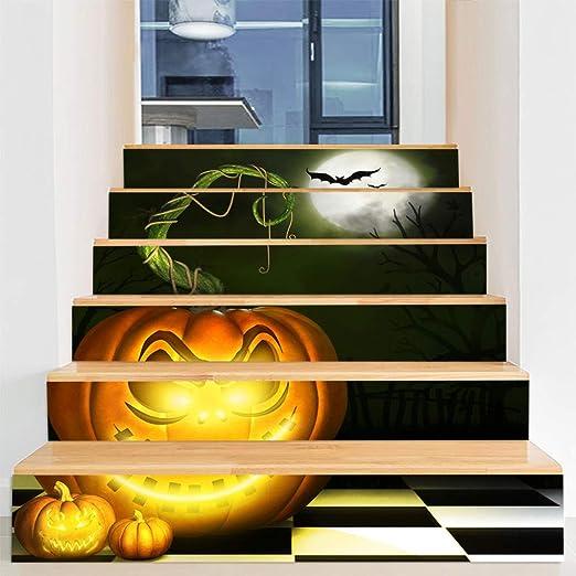 Decoraciones de Halloween casa embrujada diseño de escaleras fantasmas de terror ventana ventana puerta de vidrio pegatinas de pared pegatinas de escalera 100 cm * 18 cm 2: Amazon.es: Amazon.es