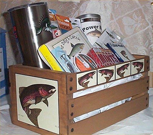 Fishing crate Mug Gift Basket Wood Crate Lures Hooks Bobbers Nuts powder Bait