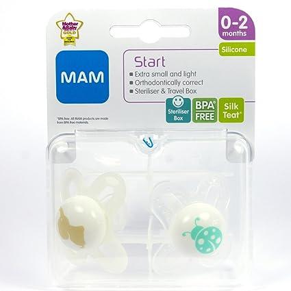 MAM Start 2 x Chupetes 0-2m (Blanco/Crema): Amazon.es: Bebé