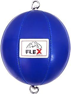 flex sports Flex Cuir Double extrémité Boule Boule de perforation avec sangles élastiques bleu