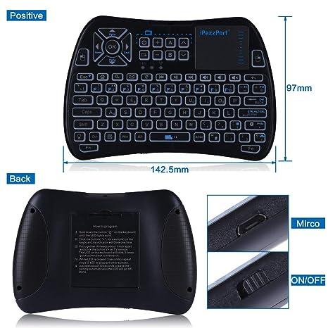 (2018 + Control remoto de TV) iPazzPort RGB Mini teclado inalámbrico con teclado táctil y mouse remoto de TV de 2.4 GHz Teclado USB para Android TV Box, ...
