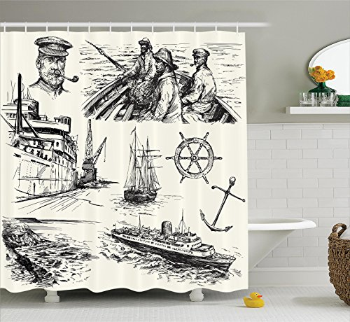 Ambesonne Nautical Decor Collection, Fisherman Captain Seaman Sailboat Old Historic Sketch Monochromatic Artwork Print, Polyester Fabric Bathroom Shower Curtain, 84 Inches Extra Long, Black and White