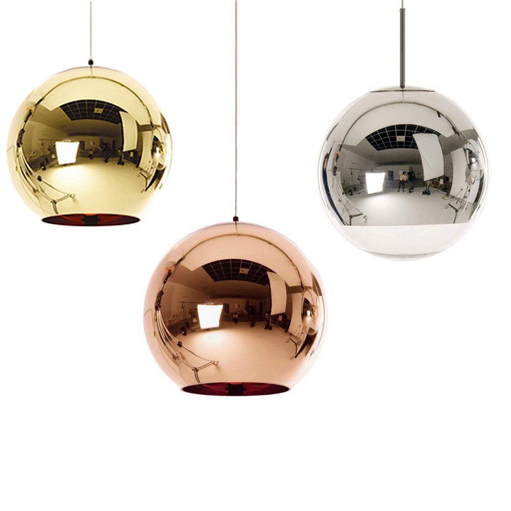 Huahan Extension Mirror Glass Ball Pendant Lamp Ceiling Light Fixture Fit to E26/E27 Gold 15cm 1PC