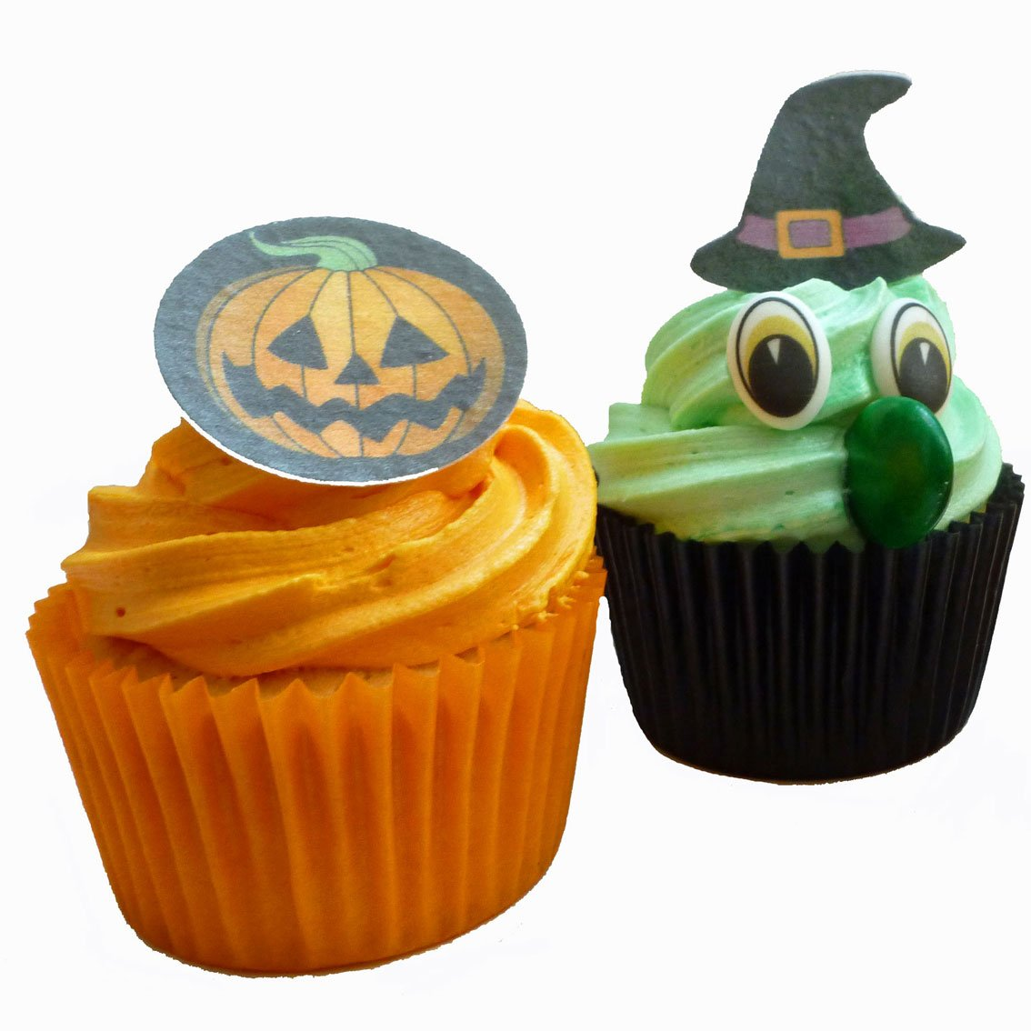 6 x HALLOWEEN EDIBLE WITCHES HATS CUPCAKE TOPPERS