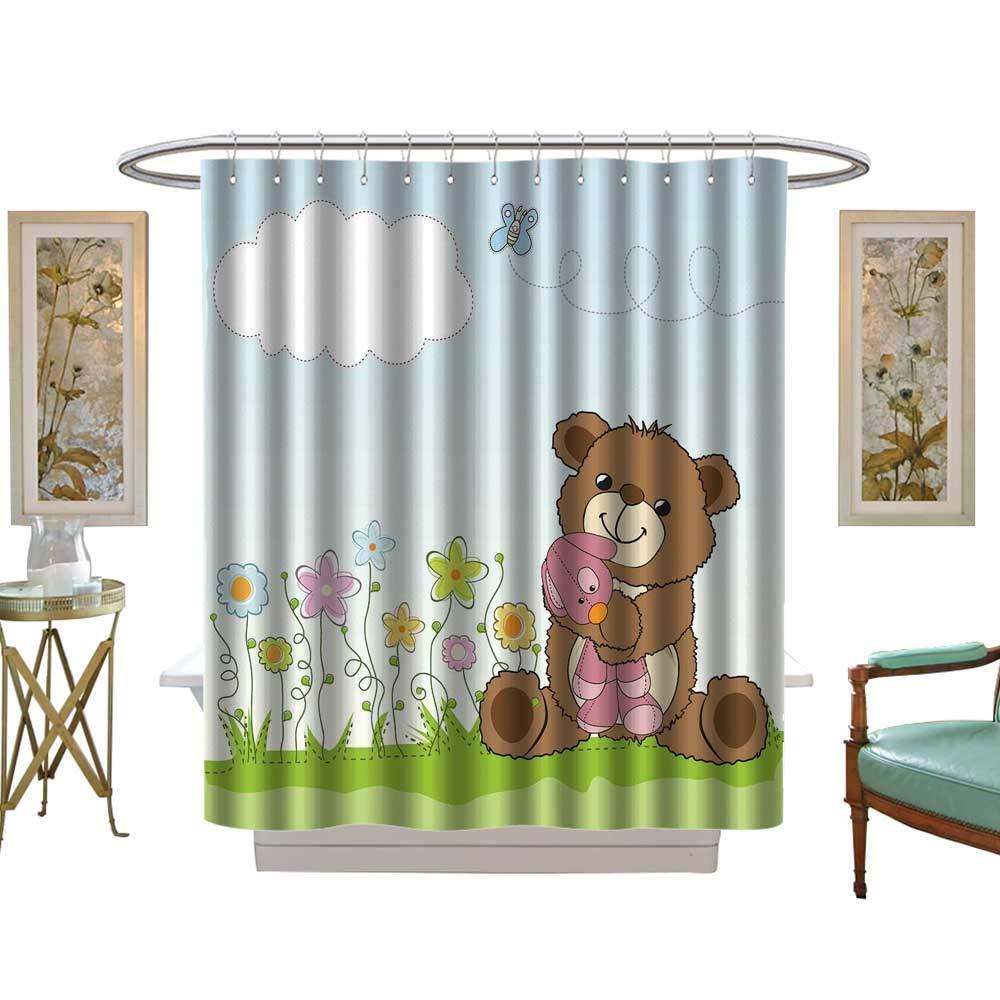 luvoluxhome シャワーカーテンコレクション 子供の絵 ドードル カスタムメイド シャワーカーテン W69