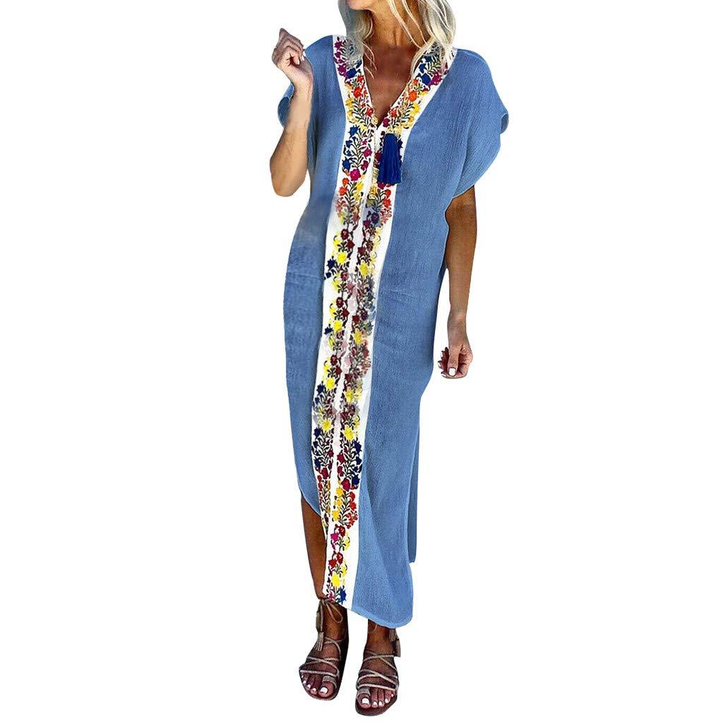 Sttech1 Women Vintage Bohemian Print Dress V-Neck Short Sleeve Pleated Colour Slit Dress Blue