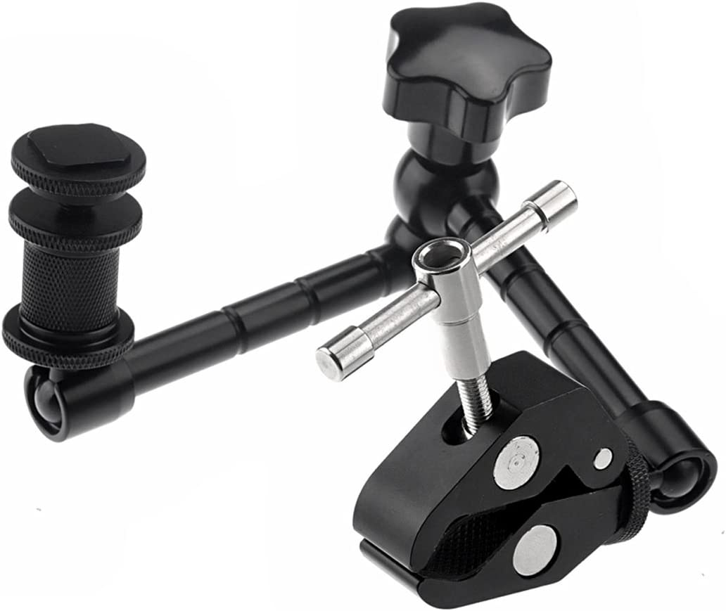 JINGZ 11 inch Adjustable Friction Articulating Magic Arm Color : Black Black Large Claws Clips for DSLR//LCD Monitor Durable