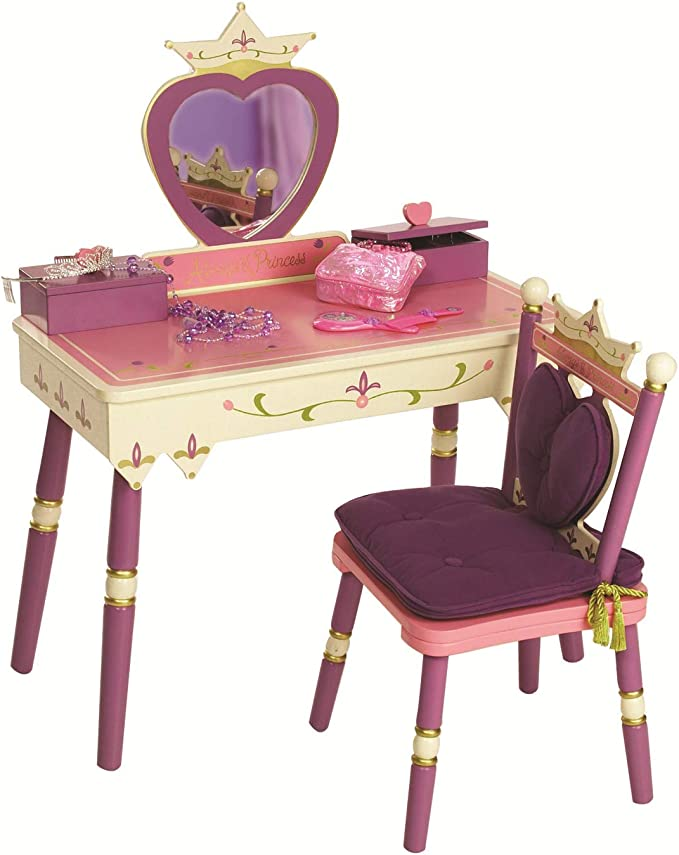 Wildkin Kids Princess Wooden Vanity And Chair Set For Boys And Girls Vanity Features Mirror And Attached Jewelry Box And Music Box Includes Matching Chair With Removable Backrest And Seat Cushion