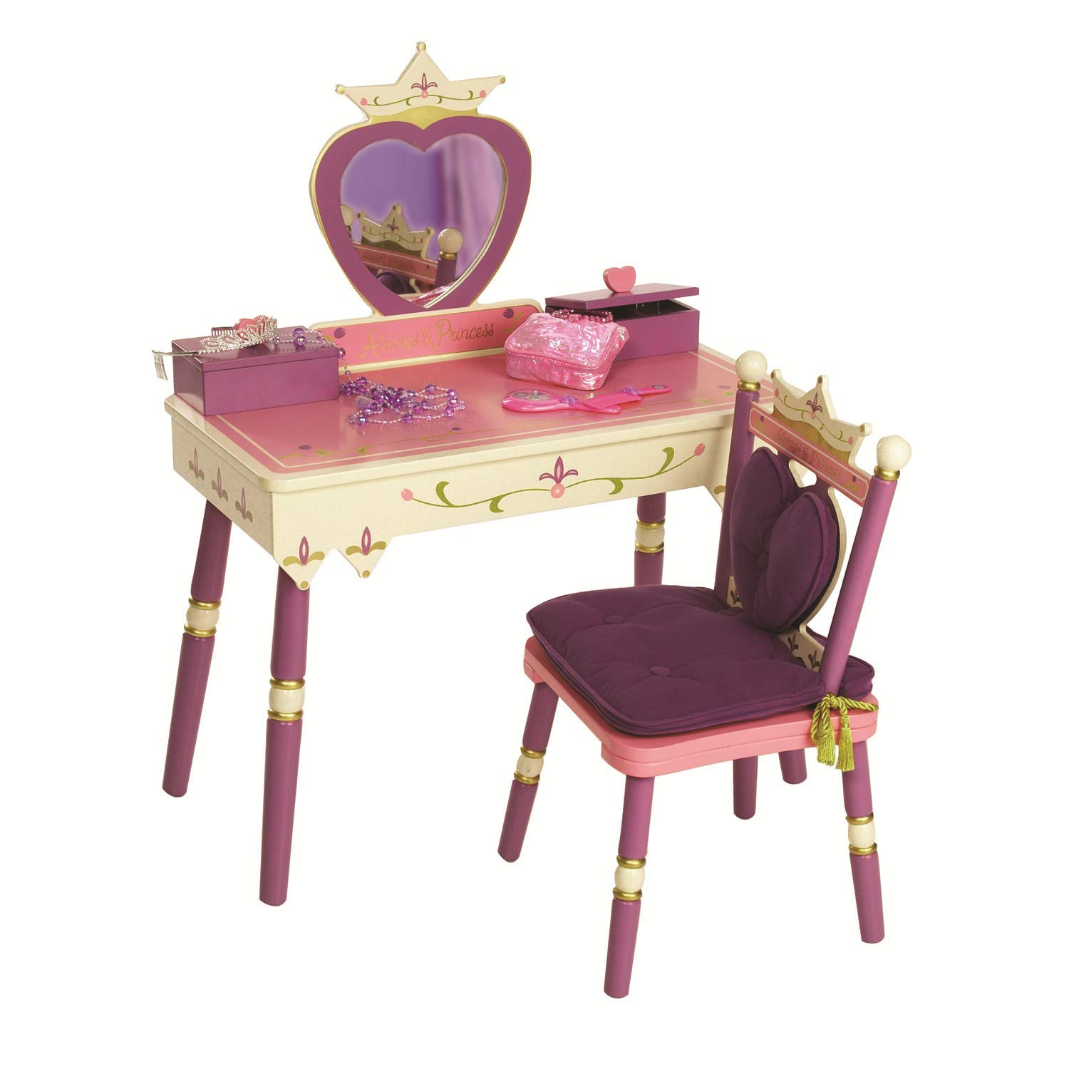 Wildkin Princess Vanity Table & Chair Set, Features Heart-Shaped Mirror, Two Jewelry Boxes, and Removable Plush Seat Cushions, Perfect for the Little Princess in Your Life – Pink
