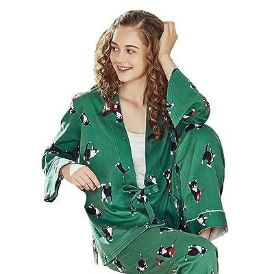 Abrigos Pijamas de algodón Mujer Verde Fresco Camisones de Manga Larga Cuatro Estaciones Animales Lindos Impreso Color Homedressing Señoras Regalo Maravilloso Chaquetas: Hogar