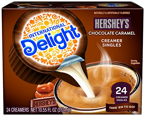 International Delight, Hershey Chocolate Caramel, Single-Serve Coffee Creamers, 24 Count, Shelf Stable Non-Dairy Flavored Coffee Creamer, Great for Home Use, Offices, Parties or Group Events