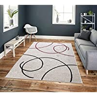 Area Rugs Pyramid Decor, String, Light Gray Casual Design, White, Light Grey, Red, Area Rugs for Living room, Area Rugs for Bedroom, 5x7 area rugs clearance