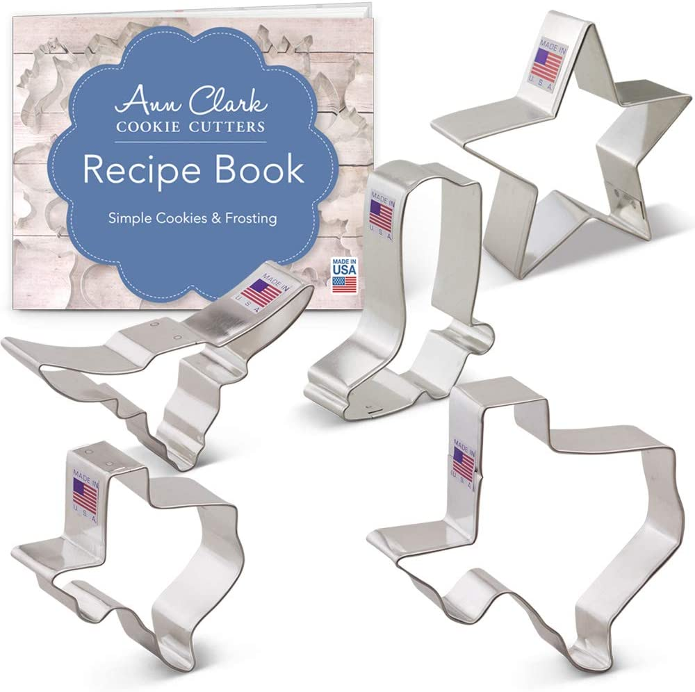 "Ann Clark Cookie Cutters 5-Piece Texas Cookie Cutter Set with Recipe Booklet, Texas 3"" & 4.4"", Long Horn, Star, Cowboy Boot"
