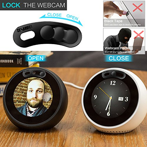 Echo Spot Webcam Cover[2-Pack] -The metal covers can cover Echo Spot's camera then protect the privacy of all users .Very easy to install.Designed By VMEI (Black) by VMEI (Image #2)