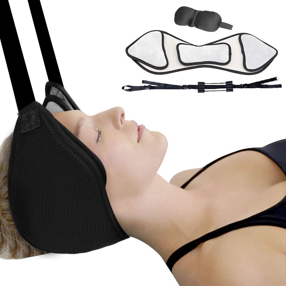 Anoopsyche Hammock for Neck Pain Relief, Portable Cervical Traction Device, Neck Massagers Intervertebral Relaxing Neck Pain Head Hammock with Sturdy Strap for Home/Office Using - Black by Anoopsyche