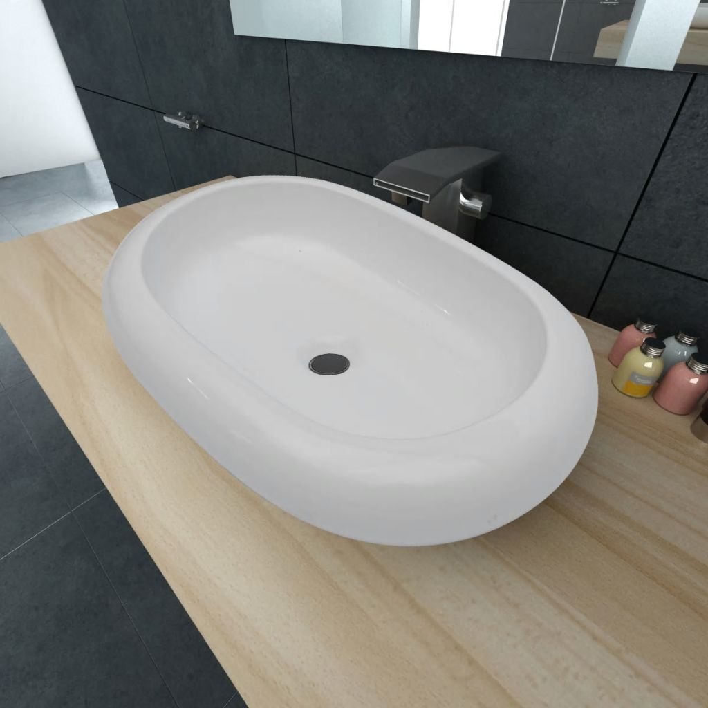 vidaXL Vasque Ovale C/éramique Noir pour Salle de Bain Lavobo Lave-Mains