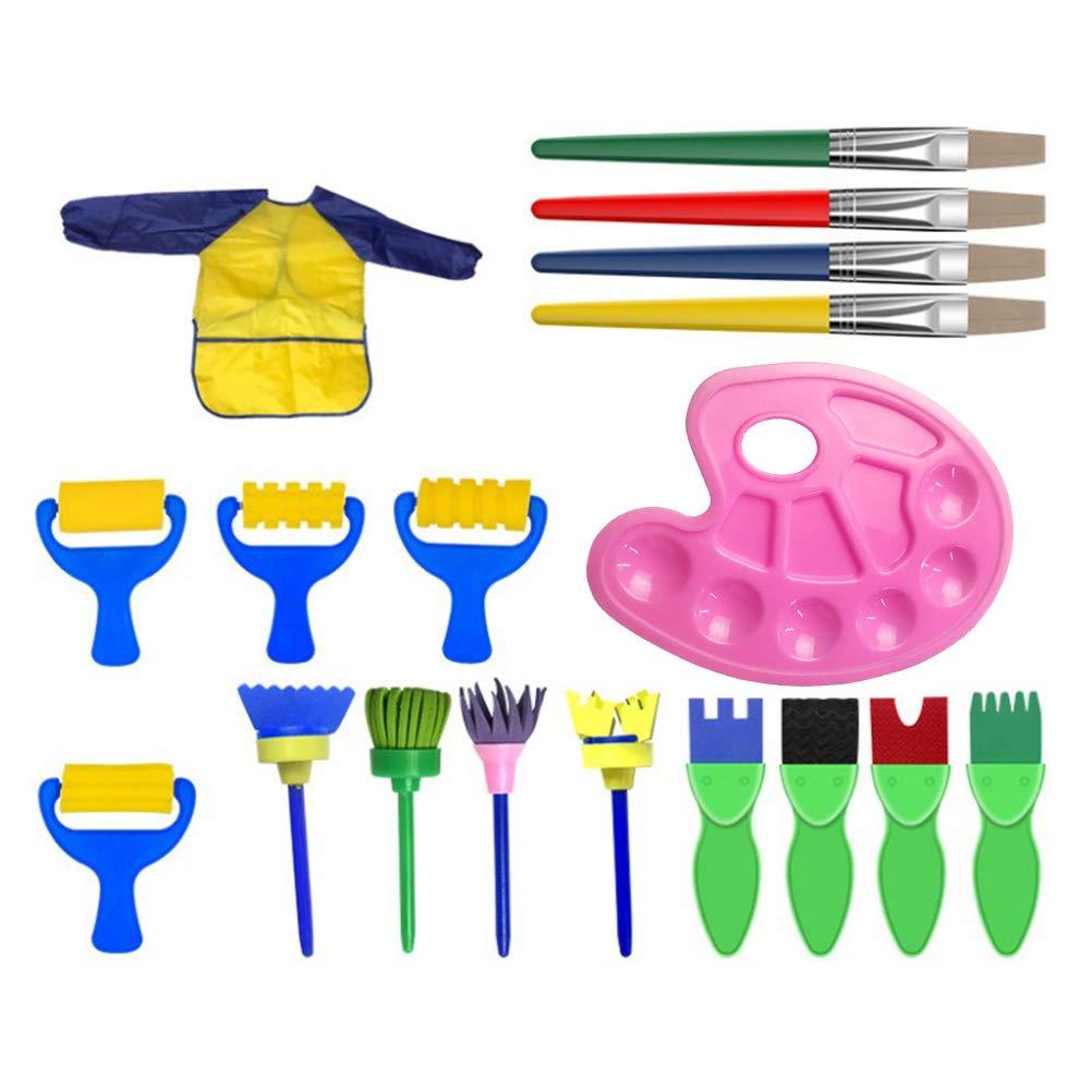 YeahiBaby Kit de Pinceles de Esponja para niños - Batas de Arte Impermeables, 18 Piezas: Amazon.es: Juguetes y juegos