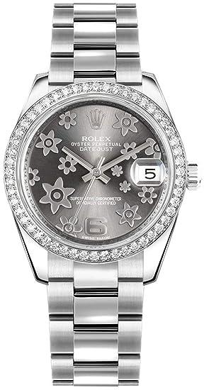 Rolex lady-datejust 31 178384 rodio diseño de flores esfera Oyster - Reloj: Amazon.es: Relojes