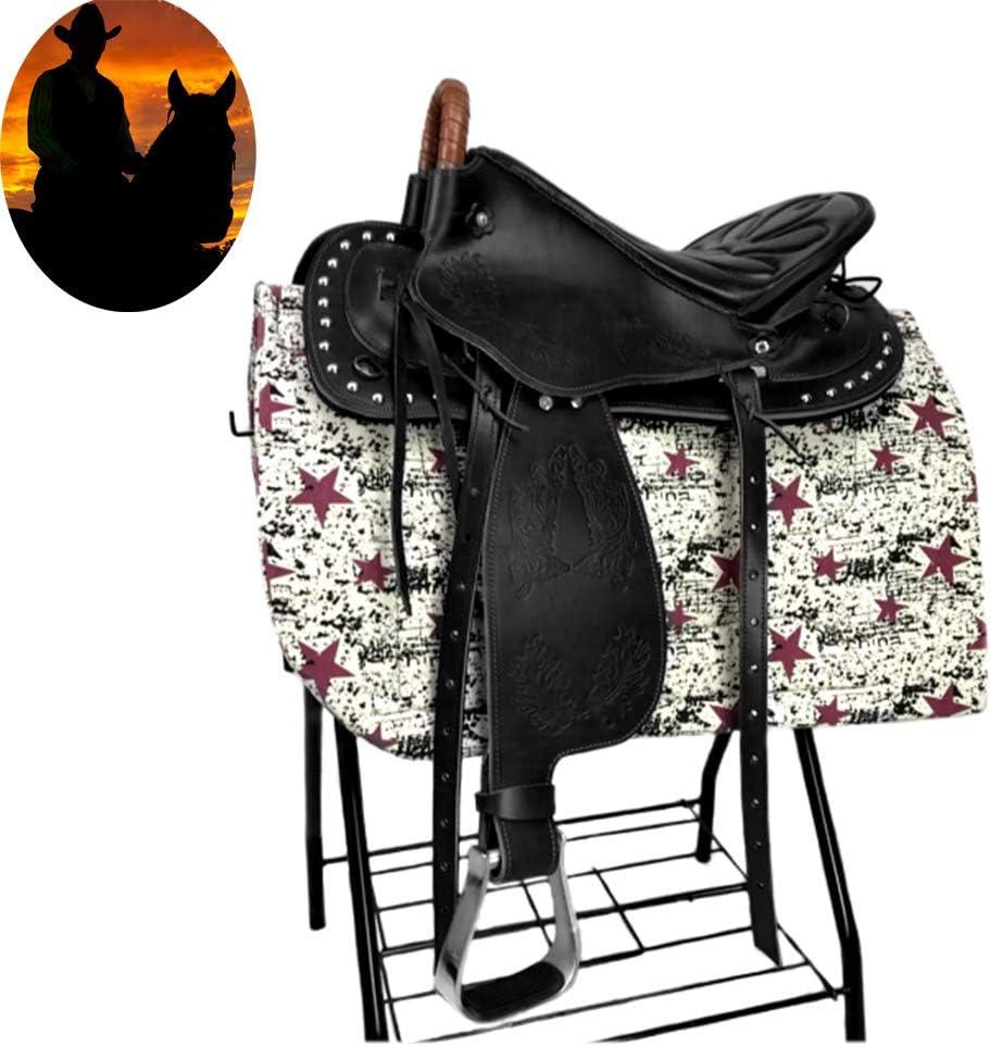 Silla de montar occidental de cuero, de alta gama de carreras cómoda pista barril, Nueva silla de suministros de impresión ecuestres, silla con reposabrazos conjunto completo de accesorios,Negro