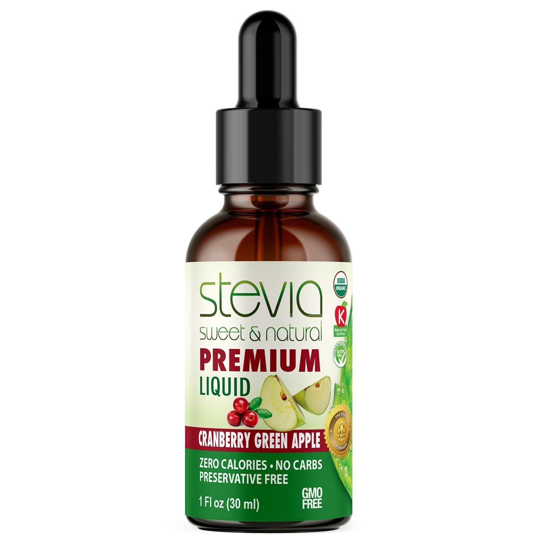 Cranberry Green Apple Premium Quality Stevia Drops | Organic Liquid Stevia | Sugar Substitute | 100% Pure Extract | All Naturally Sweet | Non-Bitter, 0 Calorie, NON-GMO, Diabetic & Keto Friendly (1oz)