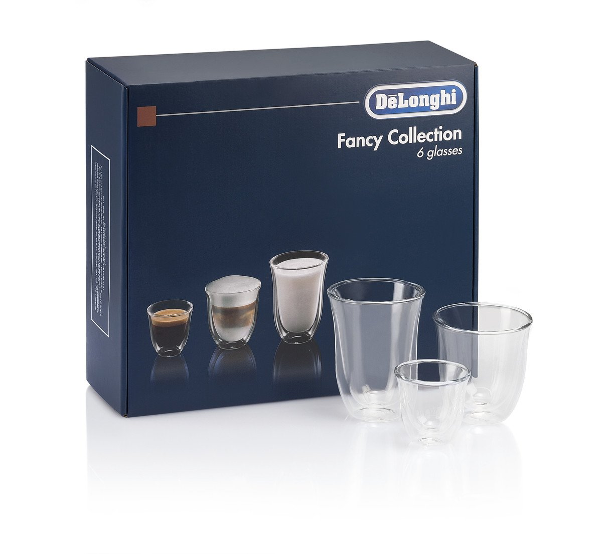 De'Longhi Fancy Collection Double Walled Thermo Espresso, Cappuccino and Latte Macchiato Glasses, (Set of 6), Clear