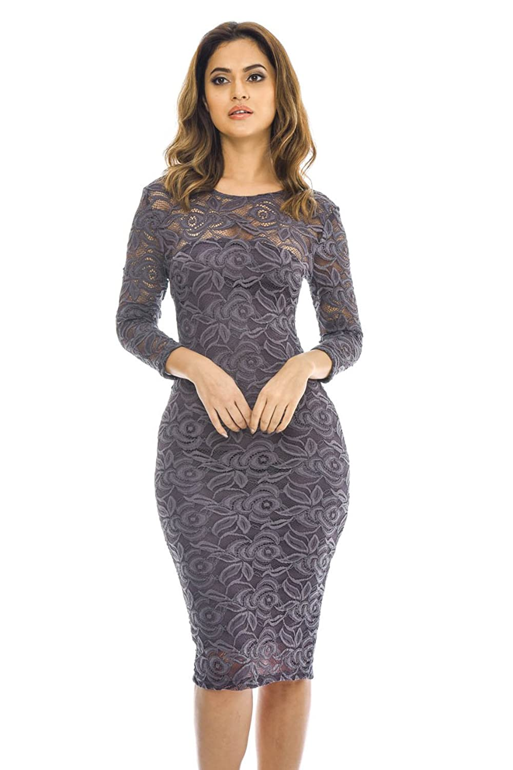 Ax Paris Womens 3/4 Sleeve Lace Bodycon Glamorous Ladies Fashion